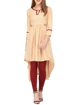 Beige high-low kurta - 15430610 - Standard Image - 1