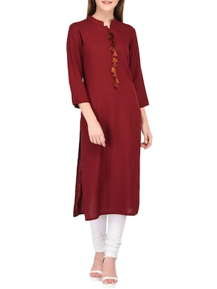 straight kurta with tassels - 15430612 - Standard Image - 1