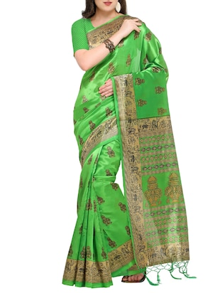 abstract printed mysore silk saree with tassels with blouse - 15431085 - Standard Image - 1