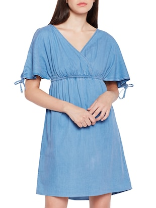 surplice neck empire-line dress - 15431166 - Standard Image - 1