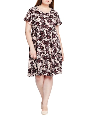 floral fit and flare plus dress - 15431170 - Standard Image - 1