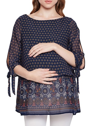 printed layered maternity tunic - 15431232 - Standard Image - 1