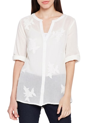 mesh button down embroidered shirt - 15431239 - Standard Image - 1