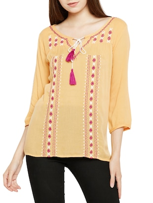 tie-up neck embroidered top - 15431321 - Standard Image - 1