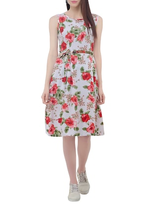 floral belted sleeveless dress - 15431749 - Standard Image - 1