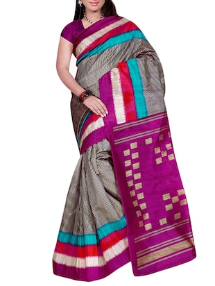 contrast border striped bhagalpuri saree with blouse - 15432784 - Standard Image - 1