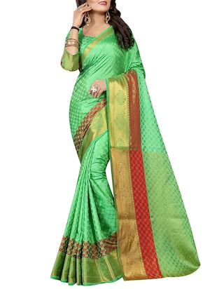 zari contrast border woven saree with blouse - 15432904 - Standard Image - 1
