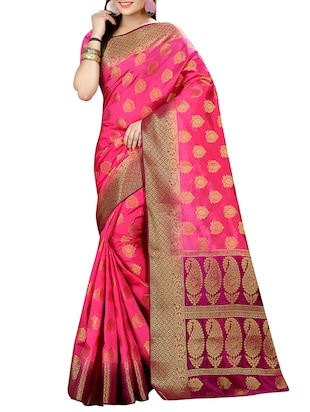 contrast border zari woven saree with blouse - 15432912 - Standard Image - 1