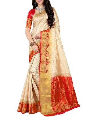 contrast zari border kanjivaram saree with blouse - 15432962 - Standard Image - 1