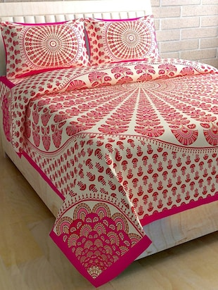 COTTON DOUBLE BED SHEET WITH 2 PILLOW COVERS - 15433232 - Standard Image - 1