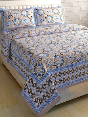 COTTON DOUBLE BED SHEET WITH 2 PILLOW COVERS - 15433240 - Standard Image - 1