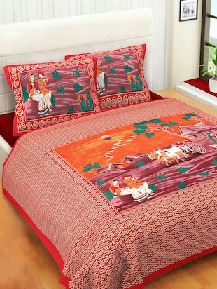 COTTON DOUBLE BED SHEET WITH 2 PILLOW COVERS - 15433256 - Standard Image - 1
