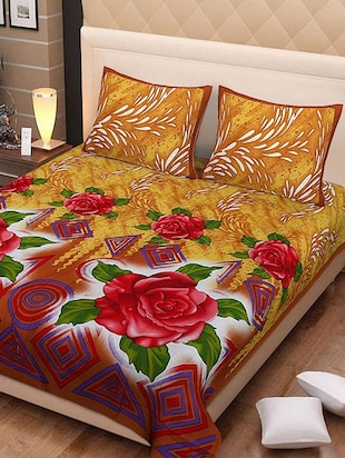 COTTON DOUBLE BED SHEET WITH 2 PILLOW COVERS - 15433285 - Standard Image - 1