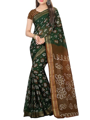 Zari contrast border bandhani saree with blouse - 15433782 - Standard Image - 1