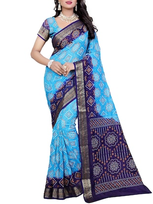 Zari contrast border bandhani saree with blouse - 15433820 - Standard Image - 1