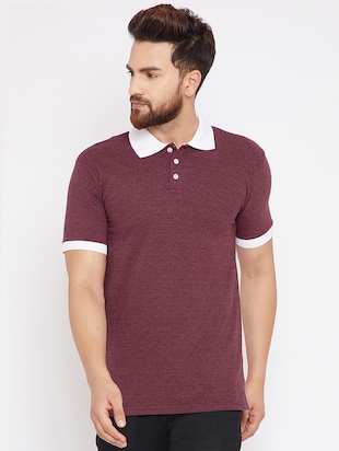 maroon cotton polo t-shirt - 15434117 - Standard Image - 1
