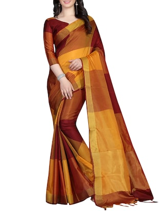 Geometrical Woven Saree with blouse - 15434239 - Standard Image - 1