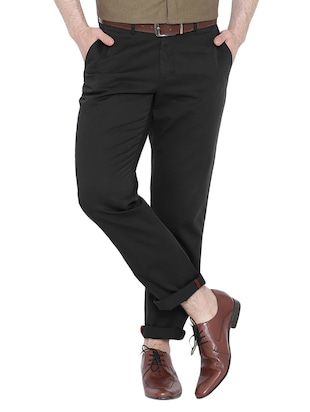black cotton chinos casual trousers - 15434533 - Standard Image - 1