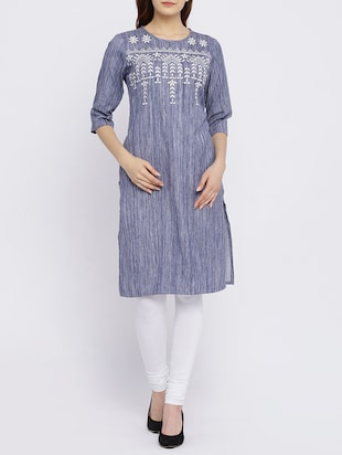straight embroidered kurta - 15434802 - Standard Image - 1