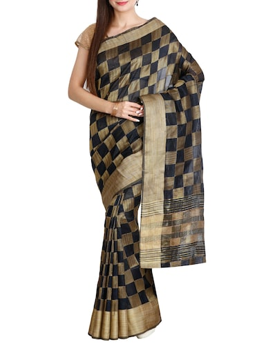 contrast checkered tussar saree with blouse - 15435663 - Standard Image - 1