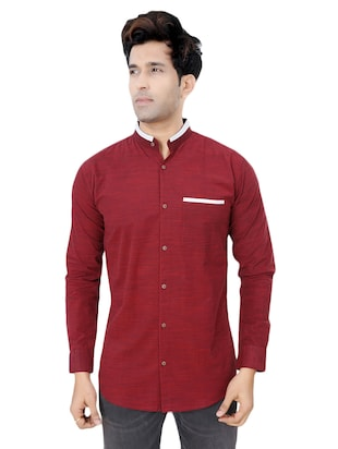 red cotton casual shirt - 15436182 - Standard Image - 1