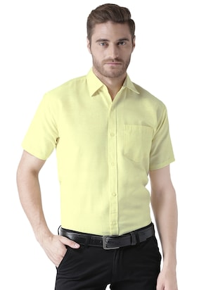 yellow khadi cotton formal shirt - 15436250 - Standard Image - 1