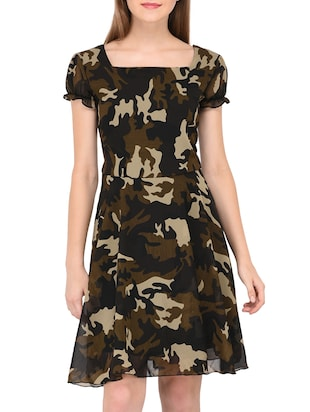 camouflage fit and flare dress - 15436294 - Standard Image - 1