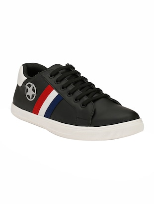 black leatherette lace up sneakers - 15436965 - Standard Image - 1