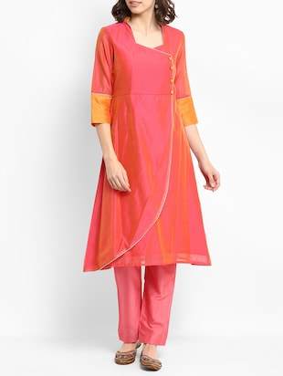 Chanderi kurta with pant set - 15438268 - Standard Image - 1