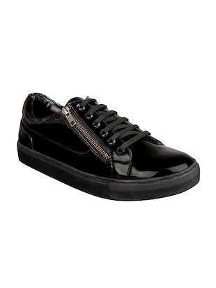 black leatherette lace up sneakers - 15438485 - Standard Image - 1
