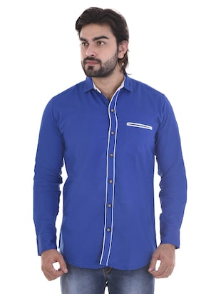 blue cotton casual shirt - 15439253 - Standard Image - 1