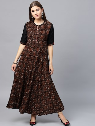 Printed flared ethnic dress - 15440579 - Standard Image - 1