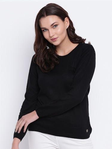 pointelle knit woolen pullover - 15440746 - Standard Image - 1