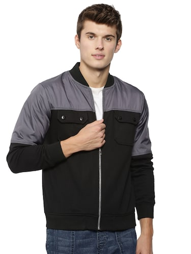 black cotton casual jacket - 15443872 - Standard Image - 1