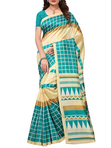 checkered printed saree with blouse - 15454137 - Standard Image - 1