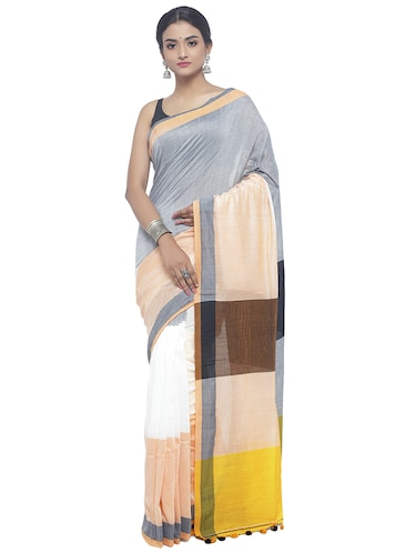 Organic Cotton handloom saree with blouse - 15458786 - Standard Image - 1