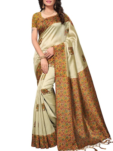 6a1747a45 Buy Mysore Silk Printed Saree With Blouse for Women from Yoyo ...