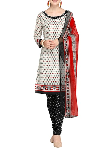 Printed unstitched churidaar suit - 15460862 - Standard Image - 1