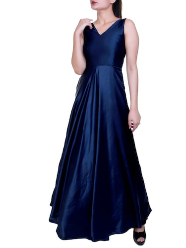 Flared satin sleeveless gown - 15462770 - Standard Image - 1