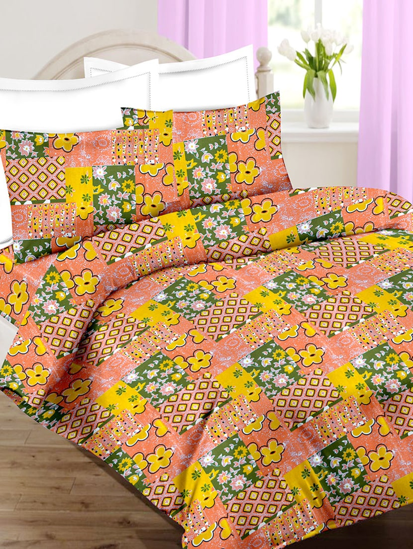 Buy Cotton Printed Single Bed Sheet With 2 Pillow Covers By Minu Bedsheets    Online Shopping For Bed Sheet Sets In India | 15462794