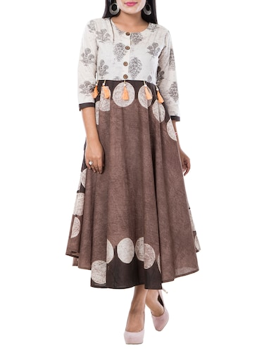 flared printed ethnic dress - 15469638 - Standard Image - 1