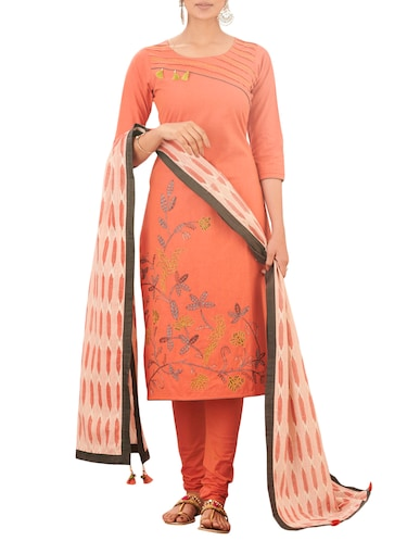 Embroidered stitched churidaar suit - 15471145 - Standard Image - 1