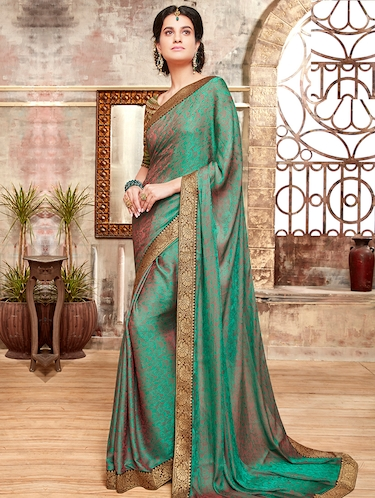 zari border floral woven saree with blouse - 15474943 - Standard Image - 1