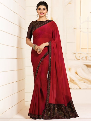 Contrast bordered saree with blouse - 15474956 - Standard Image - 1