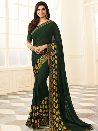 lace border floral printed saree with blouse - 15474961 - Standard Image - 1