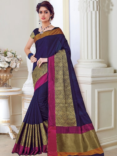 gold zari border woven saree with blouse - 15474983 - Standard Image - 1