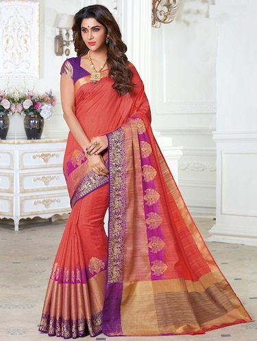 contrast zari border woven saree with blouse - 15475293 - Standard Image - 1