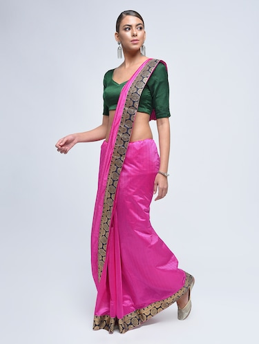 contrast jacquard border saree with blouse - 15482350 - Standard Image - 1