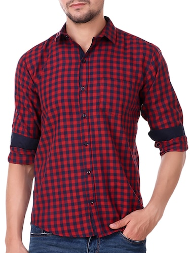 red cotton casual shirt - 15482956 - Standard Image - 1