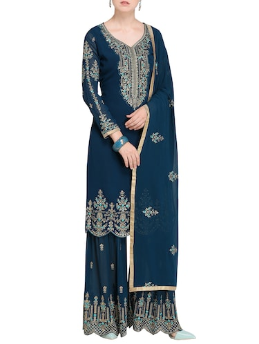 Contrast Floral embroidered sharara suit - 15485428 - Standard Image - 1
